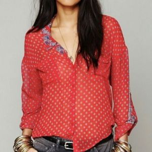 Free People Easy Rider Bandana Button Down Blouse